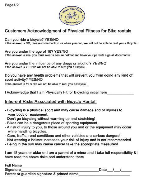Waikiki Bike rental agreement